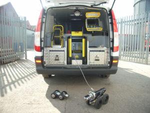 unblocking drain cctv van